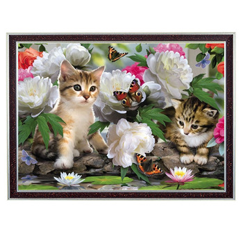 Needlework Crafts 14CT unprinted embroidery French DMC Quality Counted Cross Stitch Kit DIY Flowers cat