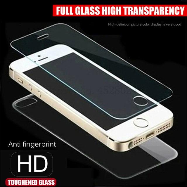 קדמי + חזור מזג זכוכית עבור iPhone 5 5S SE מסך מגן סרט על עבור אפל 5 5S SE 0.26mm 2.5D ברור מגן זכוכית