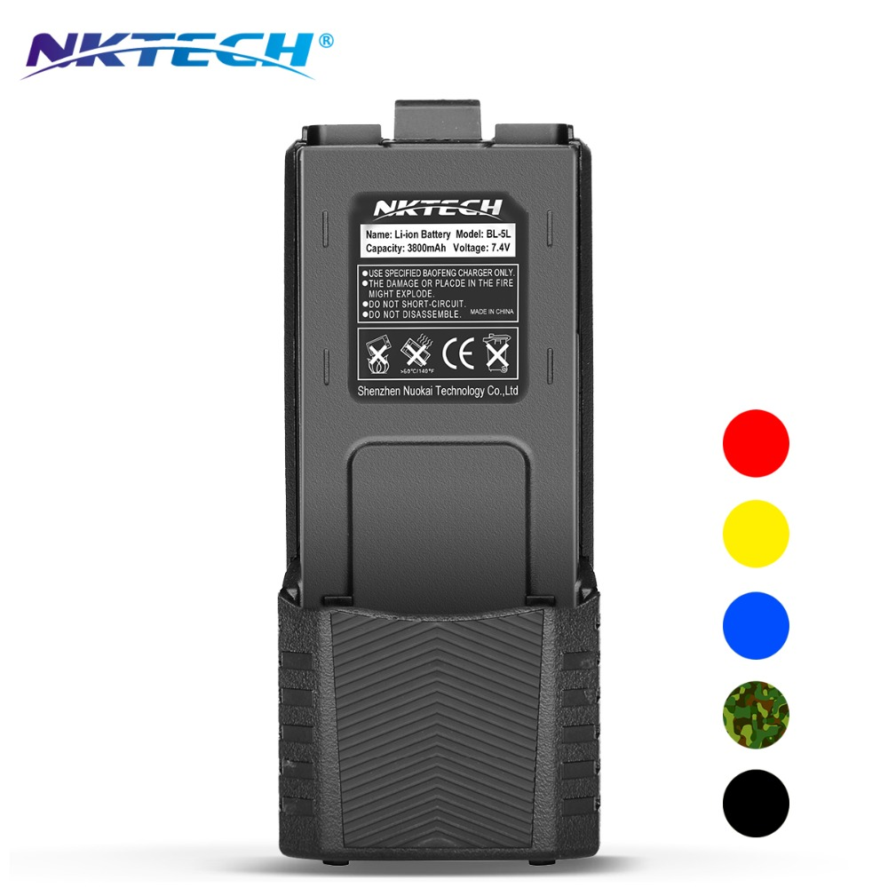 NKTECH Talkie Walkie Batterie Prolongée BL-5L 3800 mAh 7.4 V Li-ion Batterie Pour BaoFeng Pofung UV-5R PLUS V2 + DM-5R BF-F8HP UV-5RTP