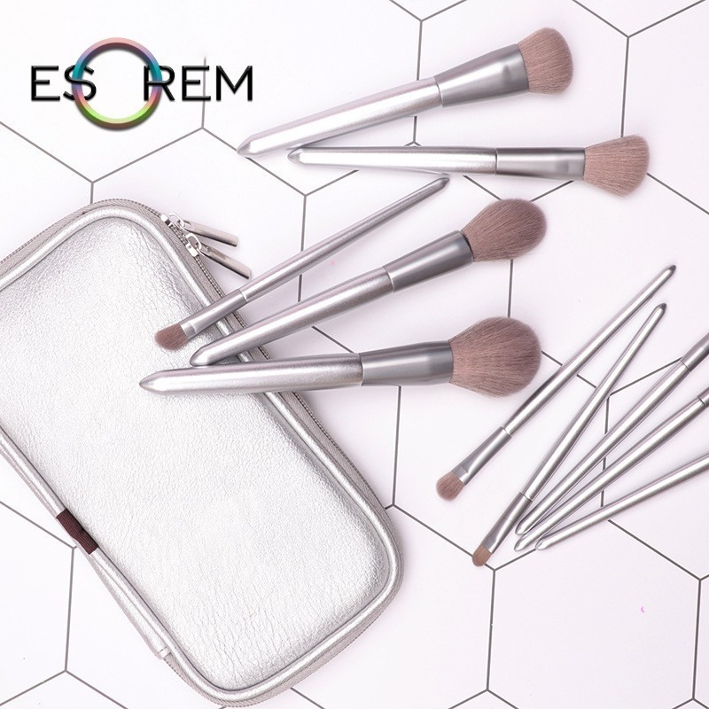 ESOREM 10pcs Makeup Brushes With Bag Silver Wood Handle Synthetic Angled Foundation Pinceaux Maquillage FLYSN0096