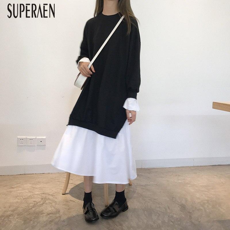 SuperAen New 2018 Autumn Loose Long-sleeved Women Dress Casual Cotton Stitching Ladies Dress Korean Style Wild Long Dress Female Платье