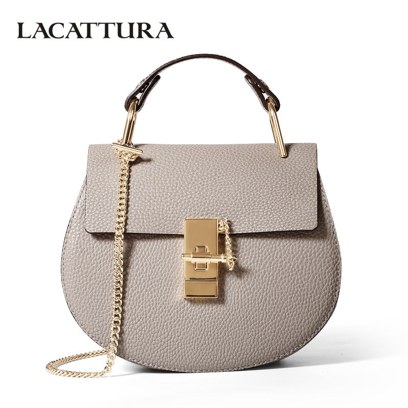 LACATTURA women messenger bags cowhide leather handbag ladies Chain shoulder bags clutch fashion crossbody bag brand candy color lacattura small bag women messenger bags split leather handbag lady tassels chain shoulder bag crossbody for girls summer colors