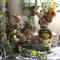 Large Garden Animal Statue Yard Balcony Vase Figurines Home Furnishing Decor Mr Frog Wearing A Straw Hat Holding A Flower Pot