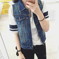 2016 Newest Fashion Jean Vest Women Vintage Single Breasted Hole Short Jacket Outwear Sleeveless Denim Coat Tops Plus Size