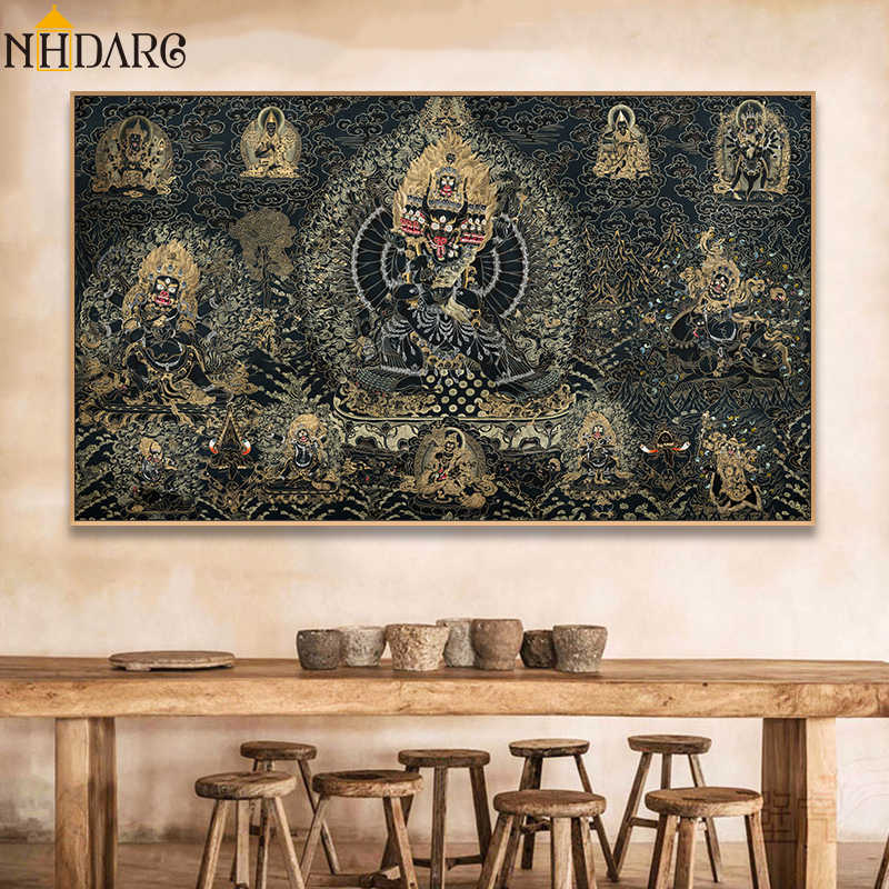 Thangka Buddha Painting Tibetan India Chinese Religion Style Canvas Print Painting Art Wall Picture for Living Room Home Decor