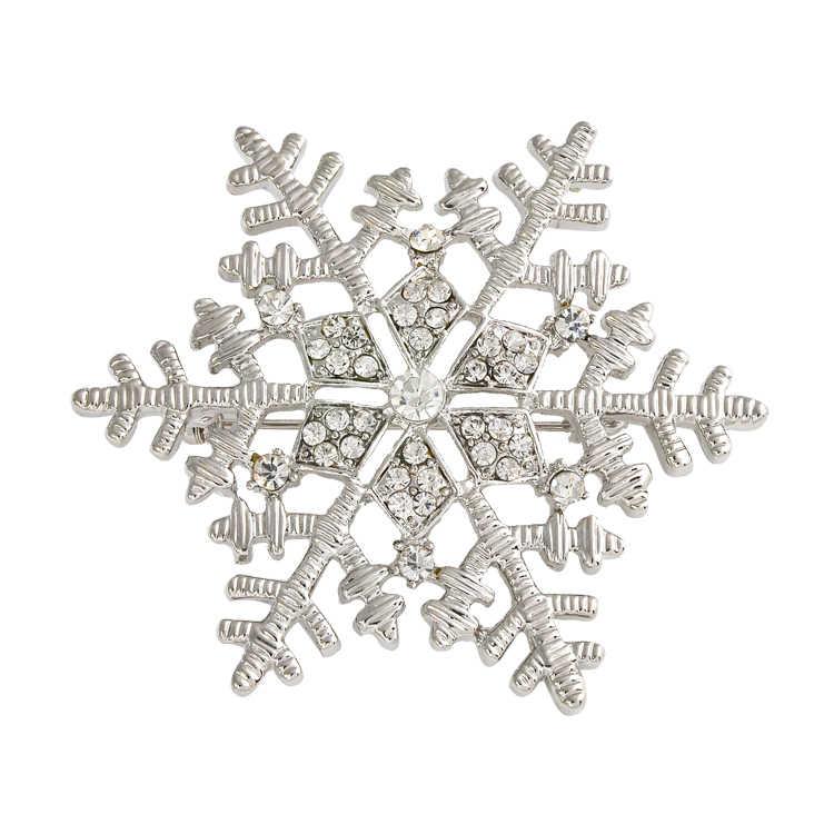 Cristallo di modo Di Natale Fiocco di Neve In Argento Spilla Con Strass Donna Spille Mujer Sciarpa Clip di Ragazze hijab accessori X0892