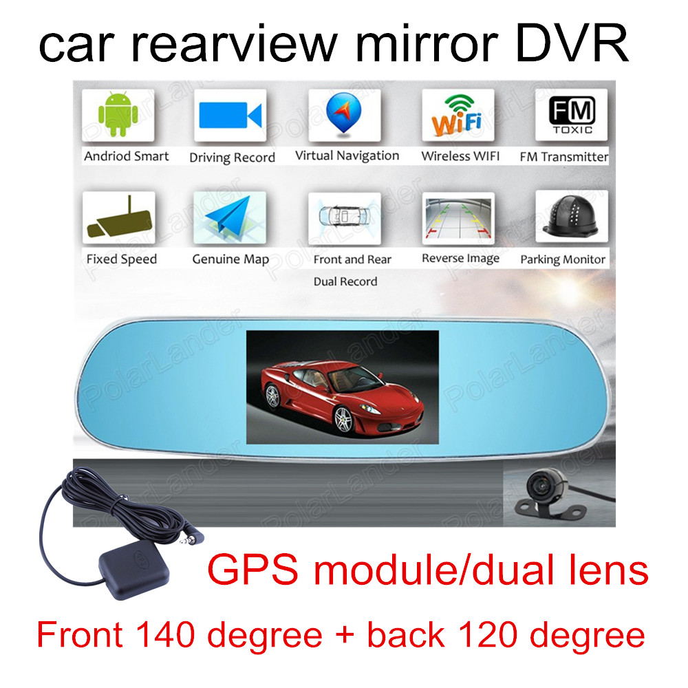 2016 New 50 Inch For Android Car Dvr Double Cameras Gps Making Fm Transmitter 04 W Free Shipping5 Touch Wifi Parking Rearview Mirror Hd Dash Cam Dual Camera Features Systemsandroid 403 Os Support Download