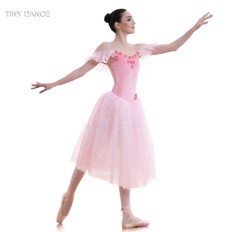 Pink Velvet Bodice and Soft Tulle Long Ballet Tutu for ...