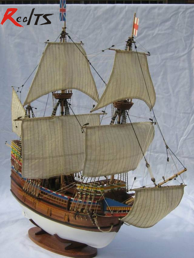 RealTS Classic Wooden Sailing Boat Assembled Set 1/50 Mayflower Sail Boat Model 1pcs