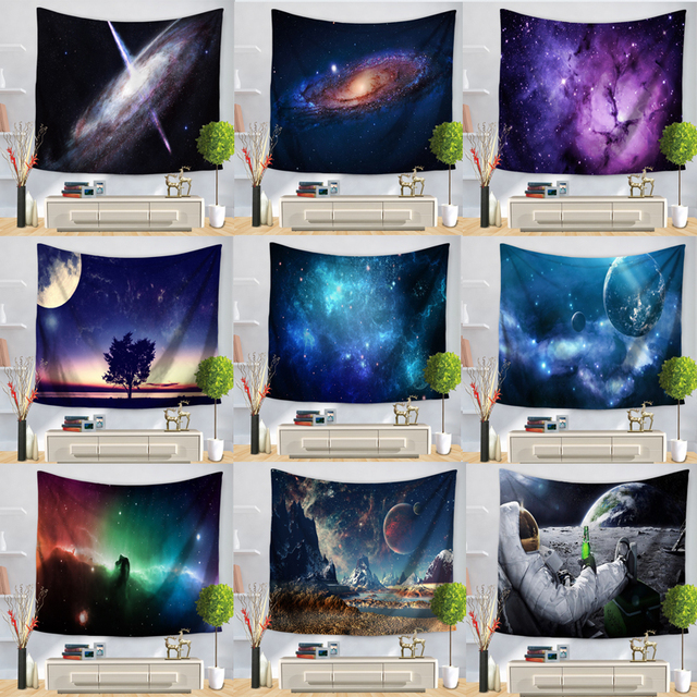 Psychedelic Cosmic Series Stars Tapestry Starry Sky Fabric Wall Hanging Decor Polyester Curtains Plus Table Cover Yoga