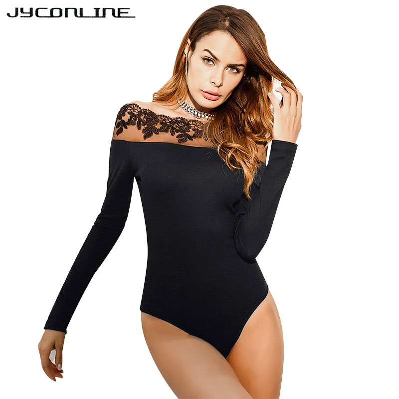 eaf785578e JYConline Women Sexy Off Shoulder Lace Bodysuit Short Jumpsuit Rompers Long  Sleeve Body For Women Combinaison Femme Playsuits-in Bodysuits from Women s  ...
