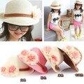 Лето соломенные шляпы ведро для детей широкими полями девочки вс-топ пляж цветочные шляпы бесплатная доставка BGXS-003