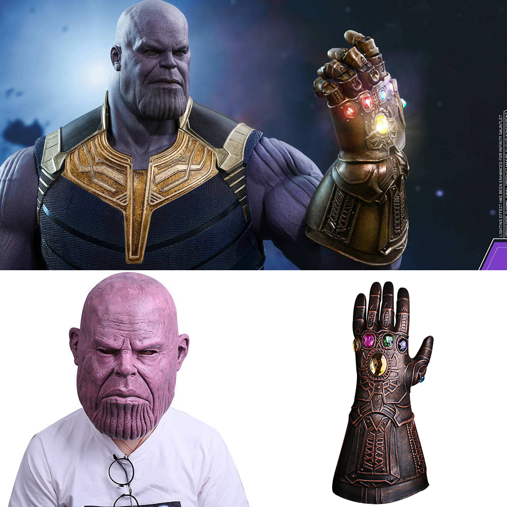 Cosplay Infinity Gauntlet Avengers Infinity War Thanos Glove Mask Gold Cosplay Studs Halloween Prop New