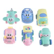 6Pcs/set Kids Mini Model Car Children Toy Car Vehicles Model Cute Inertial Plastic Car Cute Bus Truck Aircraft Cartoon Car(China)