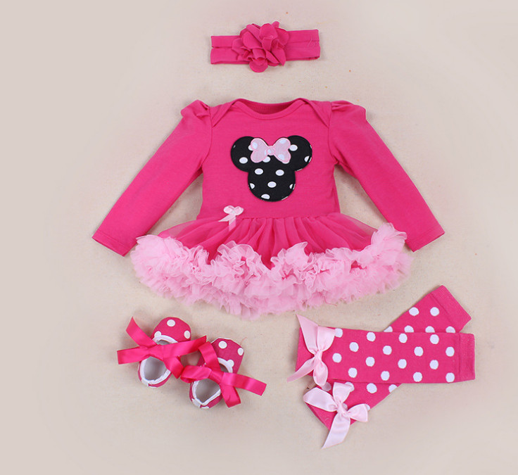 Newest 2017 Newborn Baby Clothing Girl Cartoon Rompers Tutu Skirt+Headband+Shoes+Socks Kids Cotton Clothes 1st Birthday Gift 4pcs sets baby girl clothes sets infant newborn clothing cotton rompers ruffle bloomers shoes headband ropa de bebes infantil