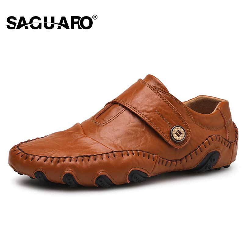 SAGUARO 2018 Men's Leather Casual Shoes Men Driving Loafers Shoes Moccasins Fashion Comfort Flats Cowhide Leather Male Footwear mycolen men leather casual shoes loafers fashion men shoes moccasins chaussures flats male breathable driving shoes sapatos