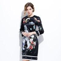 Zomer nieuwe jurken 2017 dames zwarte mode lange mouw astronaut print nieuwigheid slanke gothic knielange classic designer dress