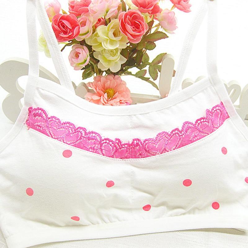 c2619a771 New Teen Girl Training Bras Cute Dots Cotton Comfortable No Rims Young Girls  Bras Fine Shoulder Strap Vest ...