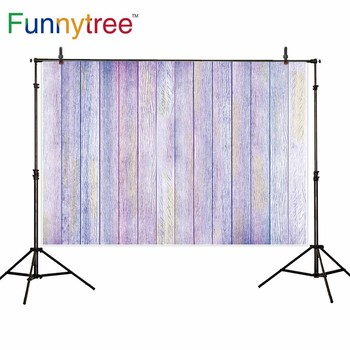 Funnytree backgrounds for photography studio light purple vintage wood board professional backdrop photocall photobooth prop image