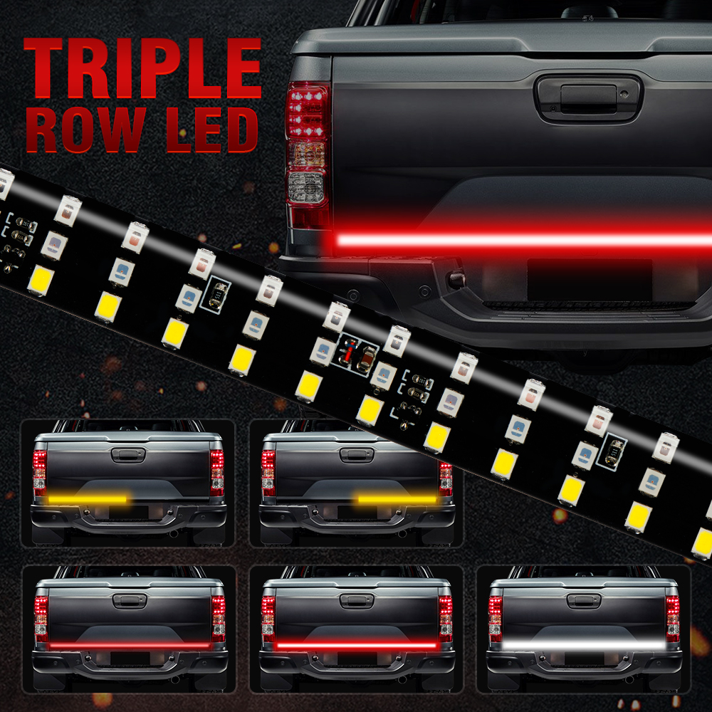 OKEEN NEW 60 Triple Row 5 Function Truck Tailgate LED Strip Light Bar with Reverse Brake