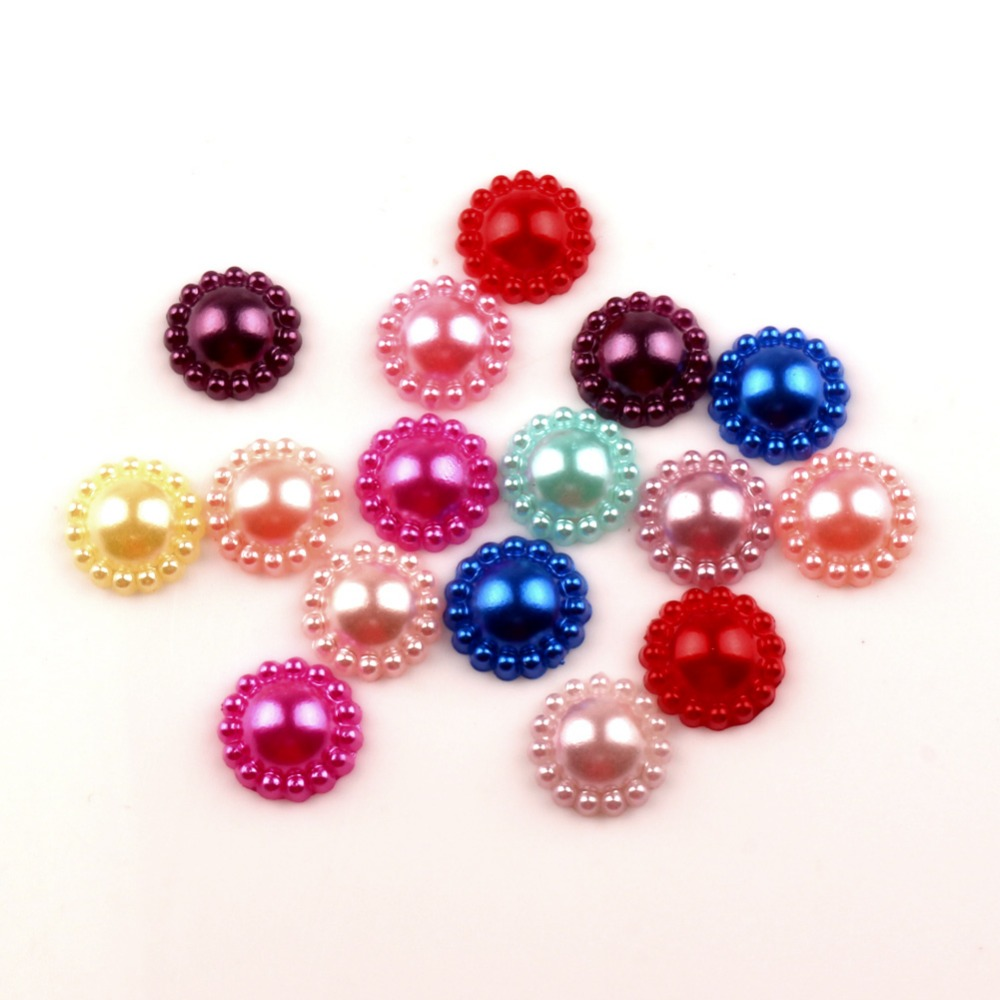 100Pcs Mixed 12.5mm Round Craft ABS Resin Half Pearls Flatback Cabochon Beads For Cloth Needlework DIY Scrapbooking Decoration(China)