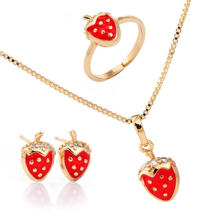 Red Strawberry Yellow Gold Color Pendant Necklace and Earrings Ring ...