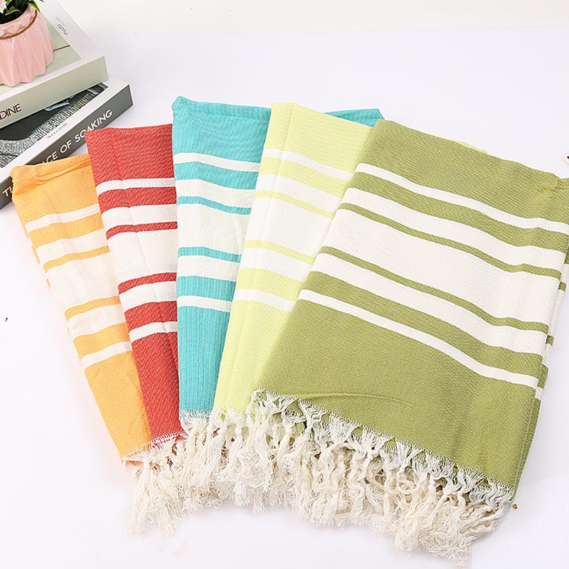 Turkish Bath Towel With Tassel Soft Stripe Adult Beach