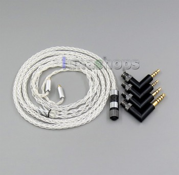 LN006256 2.5mm 4.4mm  xlr 4 in 1 Plug 8 cores 99.99% Pure Silver Earphone Cable For Shure se535 se846 MMCX 5 6 8 10 12 20 BA
