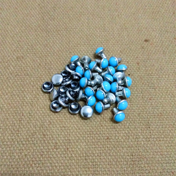 DIY100PCS 5.5mm Accesorios Azul Turquesa Grieta Remaches Cuero Craft - Artes, artesanía y costura