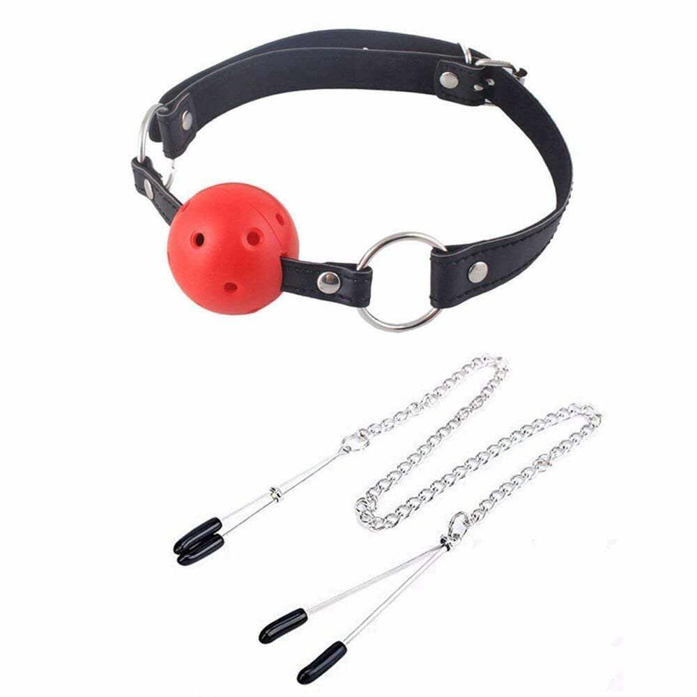 Lsexy возбуждающий, эротический Секс-игрушки гей секс рот Plug молоко-клипса набор кожаный мяч взрослый массажный металлический Регулируемый клипс открытые дышащие D5
