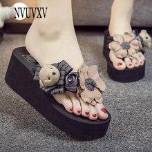 644c6bfe2 Zapatillas de mujer Manual DIY Oso de dibujos animados flor Flip Flops  antideslizante Usar sandalias de