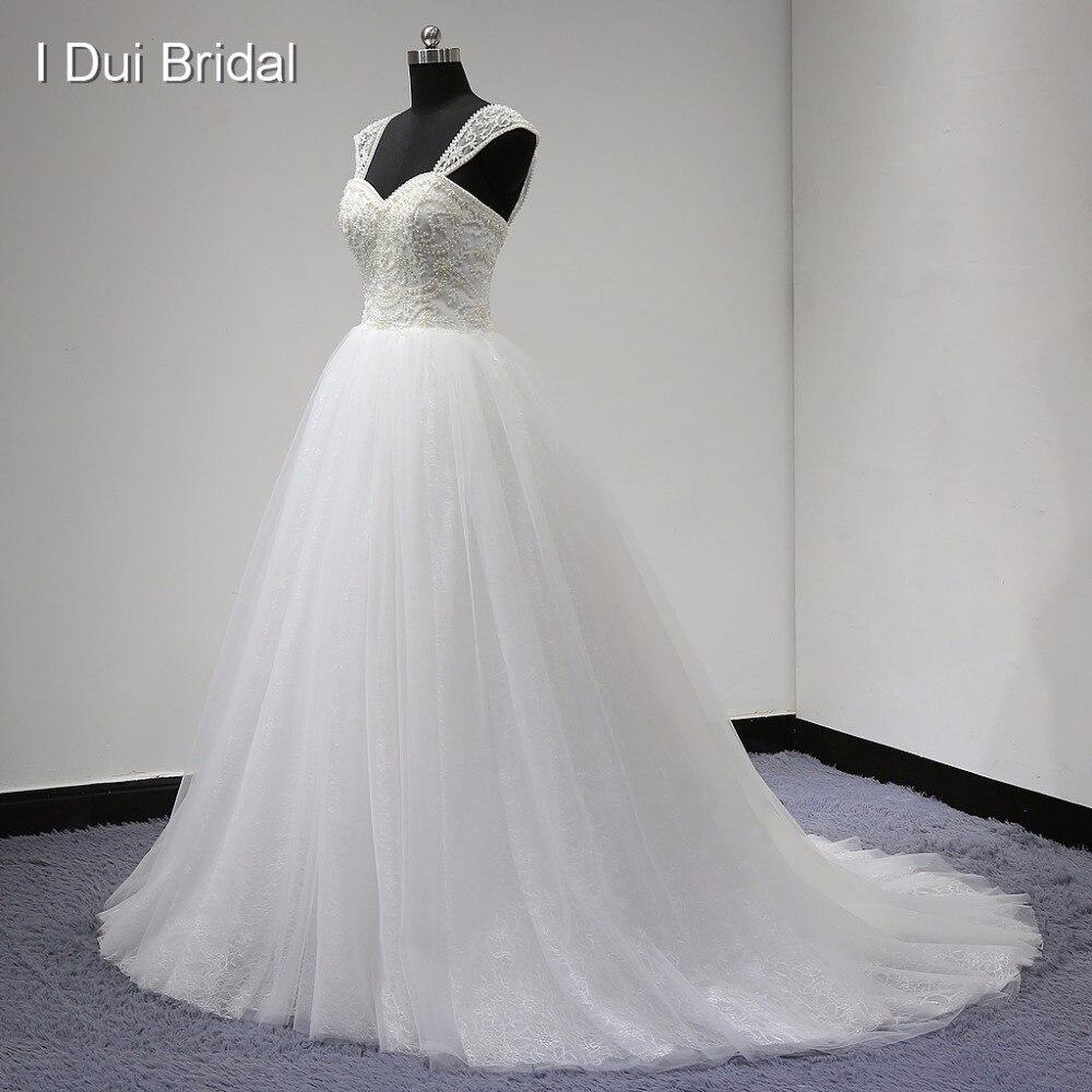 Ball kleit pulmakleitide eemaldatava rihma luksuslik pärl helmedega tülli pitskihi kullake tehas tõeline foto