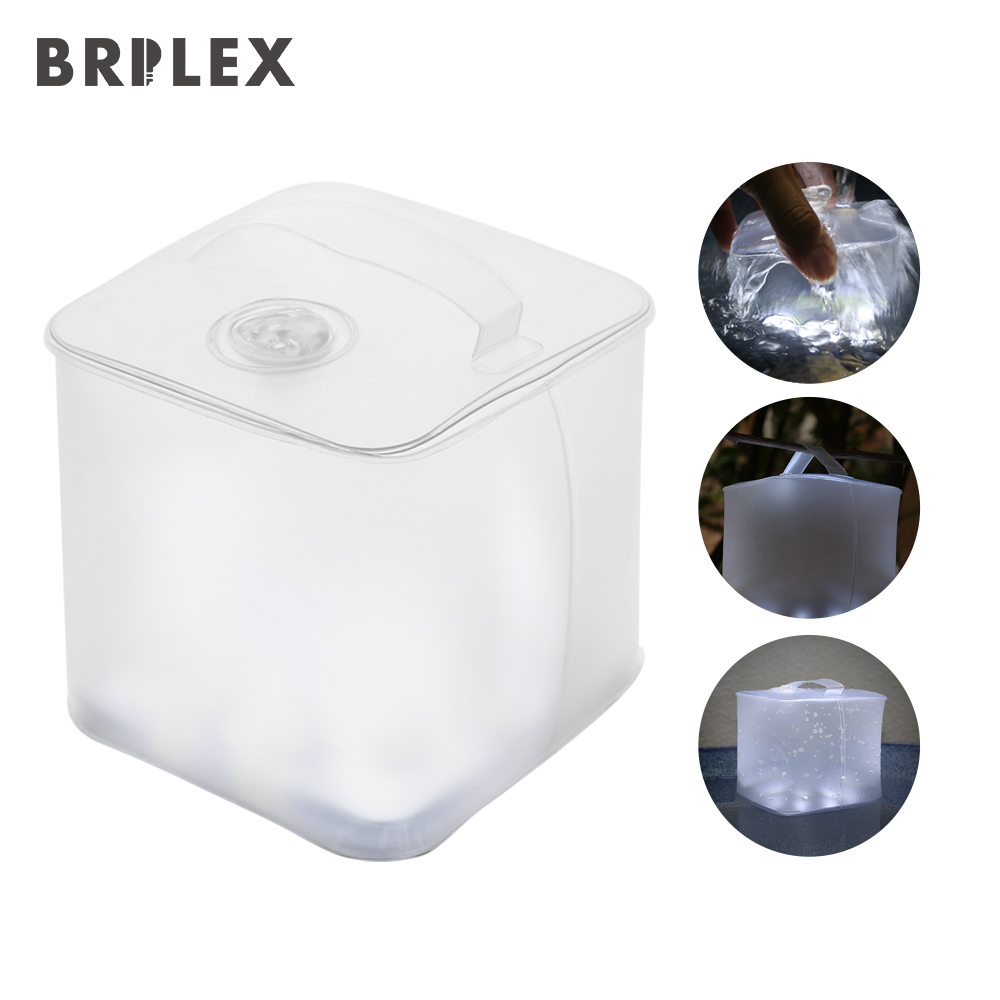 BRILEX Portable Solar Lantern Collapsible and Inflatable Lantern IP67 Waterproof Multi Lighting Modes with SOS for Outdoors.