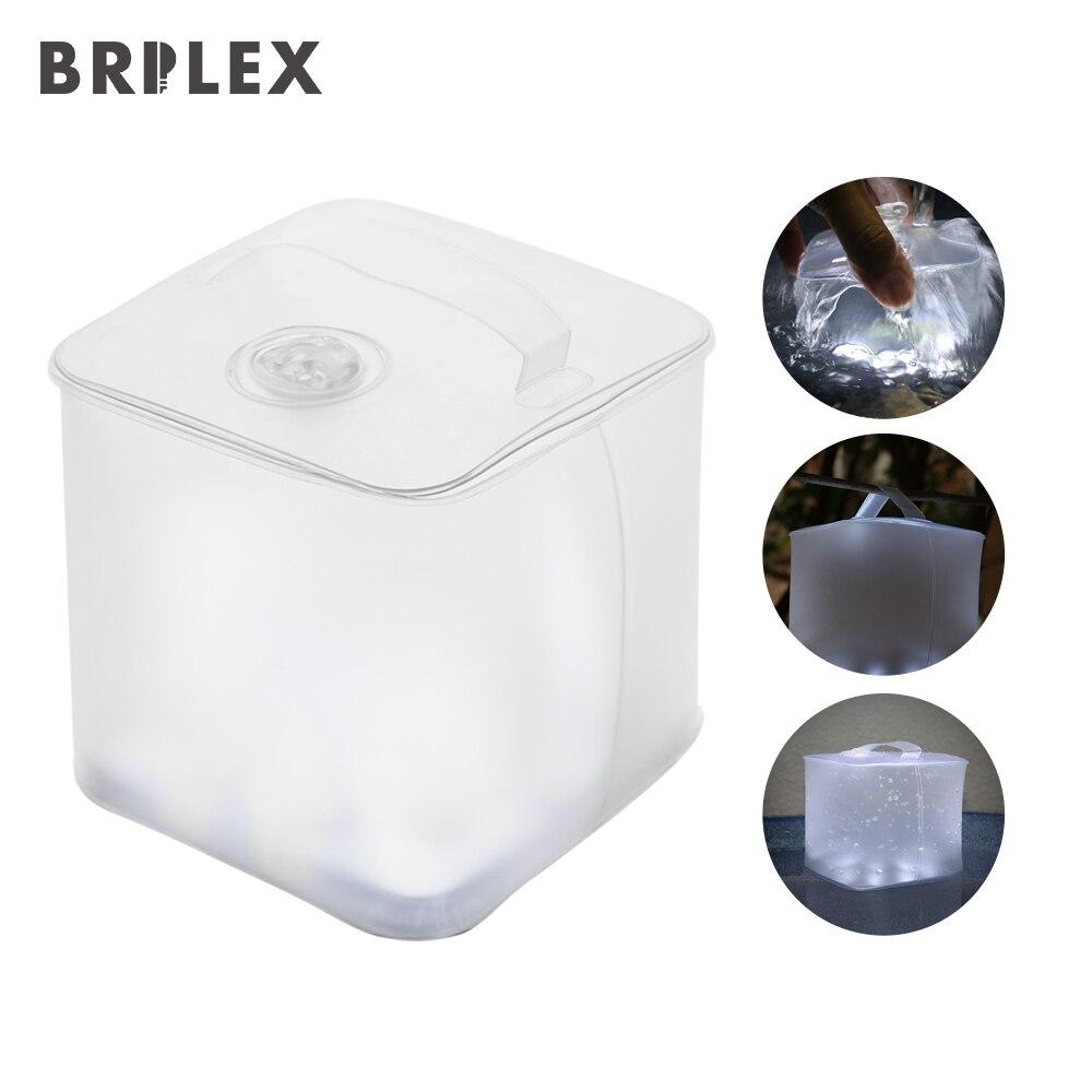BRILEX linterna Solar portátil plegable y linterna inflable IP67 impermeable Multi modos de iluminación con SOS para al aire libre.