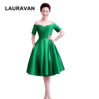 off the shoulder sleeved green womens satin red short boat neck bridesmaid dress bridesmaids party dresses with sleeves