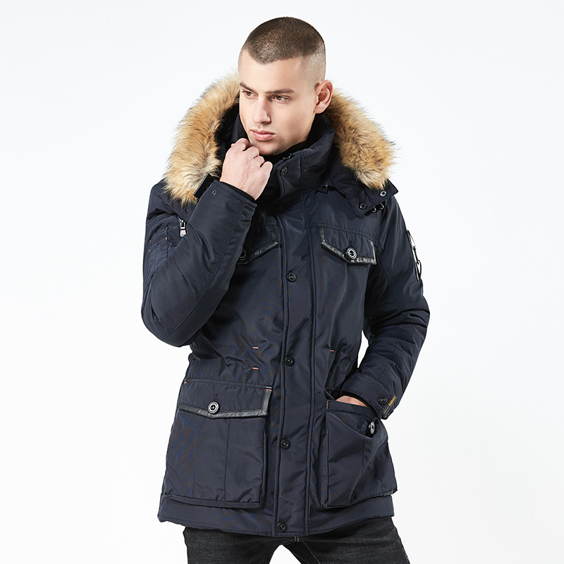 New 2018 Winter Coat Mens Jacket Top Quality Thick Cotton Long Style Overcoat   Parka   With Fur Collar