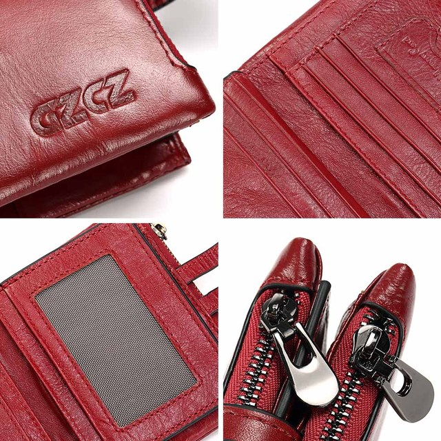 GZCZ Genuine Leather Women Short Style Wallet 2018 New Design Vintage Purse Hasp Walet Zipper Purses Card Holder High Quality