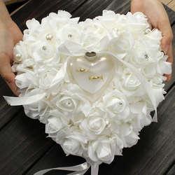 Романтический сувениры Роуз Подушка обручальное кольцо сердце случае коробка с лентой жемчуг любовника подарки