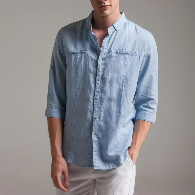 Compare prices on white linen shirts men online shopping for Online shopping mens shirts