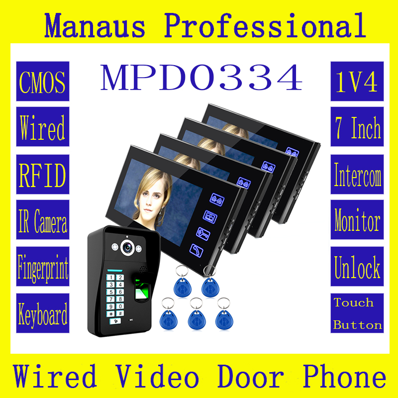 1V4 New 7 Inch Lcd Touch Key RFID Monitor + HD 1000 TVL IR Camera Fingerprint Recognition Video Door Phone Intercom System D0334 jeruan home 7 video door phone intercom system kit rfid waterproof touch key password keypad camera remote control in stock