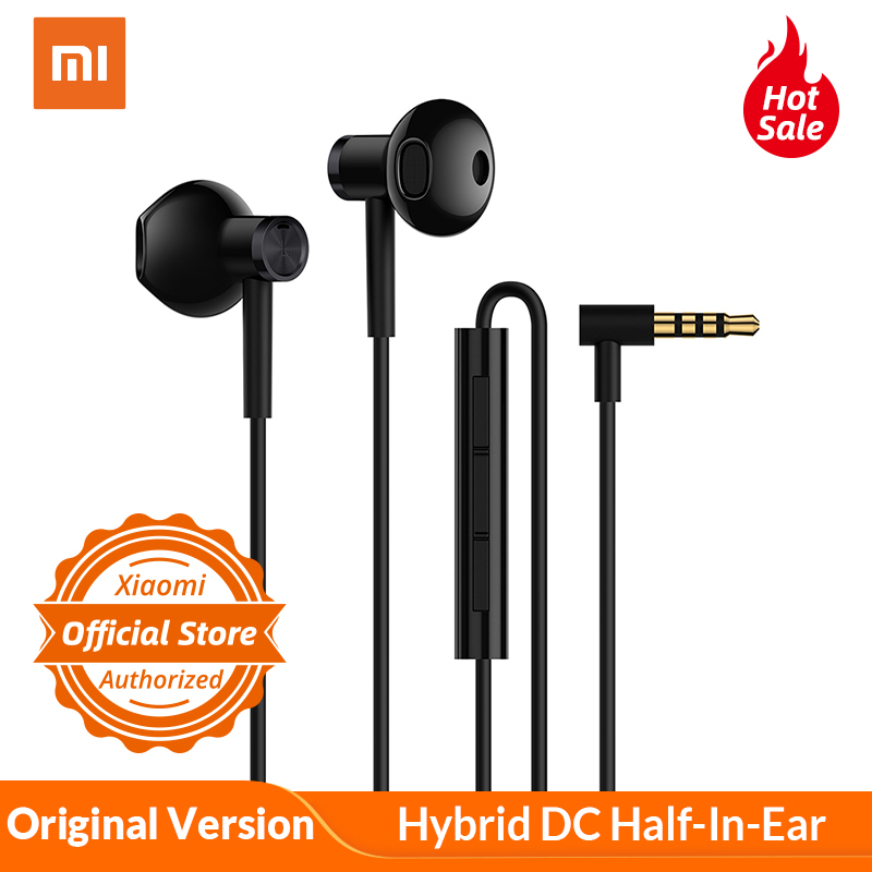 Original Xiaomi Hybrid DC Half-In-Ear Earphone Microphone Wire Control Dual Diver Horn L Shape Earphones for Android IOS System 网 红 小 姐姐