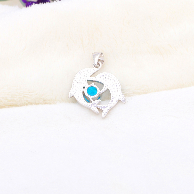 Дизайн дельфин стиль опт и розница Высокое качество Синий огненный опал Серебро Ожерелье Подвески модные украшения OP410