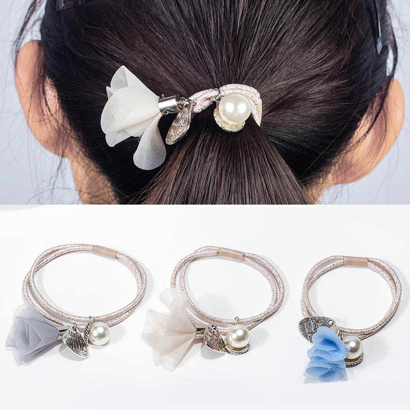 Two-layer Elastic Hair Bands Ponytail Holders Artificial Pearl English Words Black Blue Pink Chiffon Flower Headwear for Women