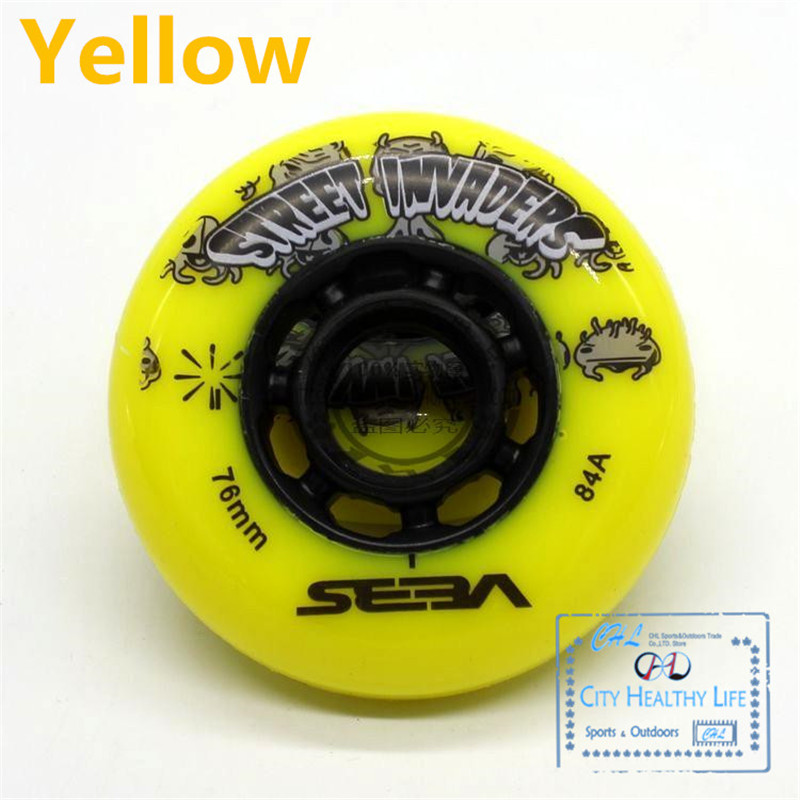 Image 3 - 4 pcs/lot 84A Street Invaders Slalom FSK Inline Skate Wheels for SEBA HV, Yellow Green Blue Red Black White 80mm 76mm 72mm-in Scooter Parts & Accessories from Sports & Entertainment