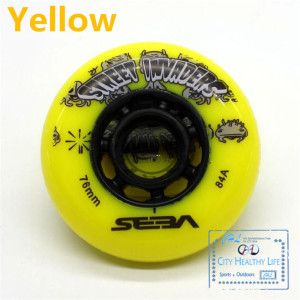 Image 3 - 4 pcs/lot 84A Street Invaders Slalom FSK Inline Skate Wheels for SEBA HV, Yellow Green Blue Red Black White 80mm 76mm 72mm