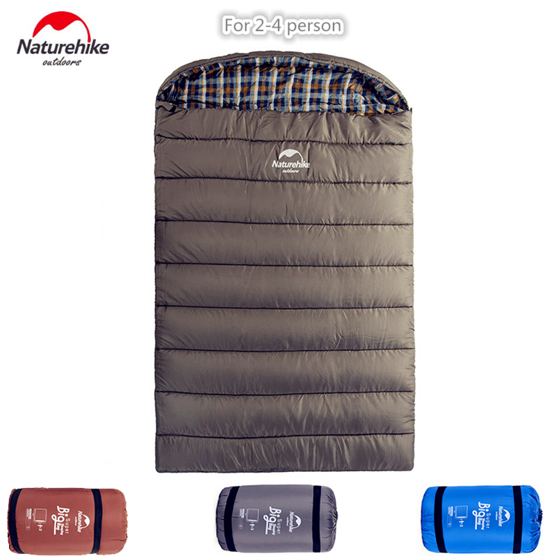 Naturehike big double sleeping bag 2-3 person sleeping bags NH Envelope Style Spring and Autumn Camping Hiking Portable оборудование для мониторинга naturehike natruehike nh
