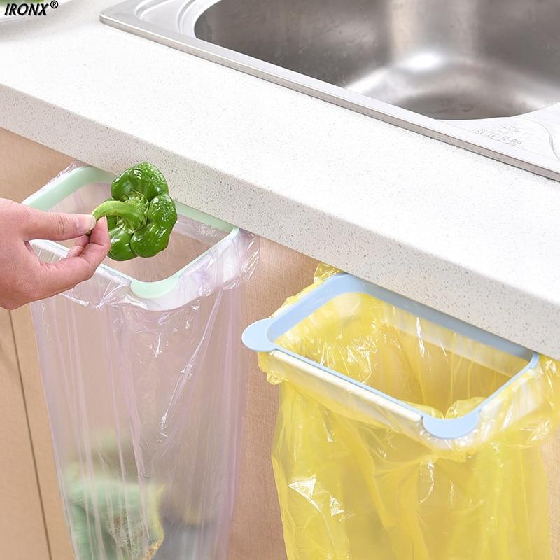 IRONX Hook Type Kitchen Cupboard Door Back Style Bracket Trash Garbage Bag Garbage Bag Storage Rack Shelf 3 color C1