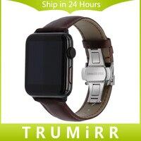 Ý da chính hãng watchband cho iwatch apple watch 38mm 42 mét butterfly buckle nhạc crazy horse dây đeo cổ tay bracelet brown