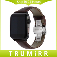 Italian Genuine Leather Watchband For IWatch Apple Watch 38mm 42mm Butterfly Buckle Band Crazy Horse Wrist