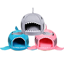 Cartoon Shark Dog Bed House Winter Warm Pet Beds Puppy Kennel Chihuahua Pets Cama Perro